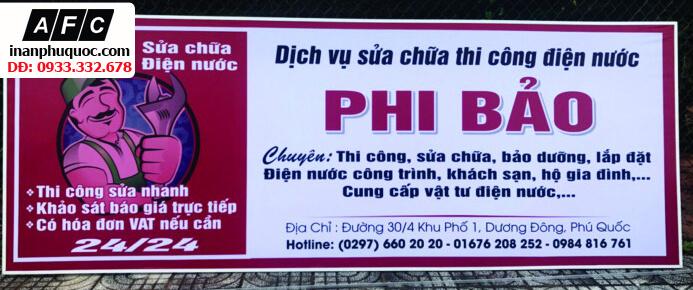 Thi công bảng hiệu của hàng Phi Bảo - Phú Quốc
