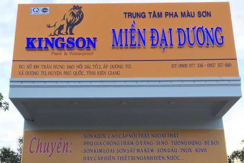 Hình ảnh thi công bảng hiệu quảng cáo Miền Đại Dương- Phú Quốc