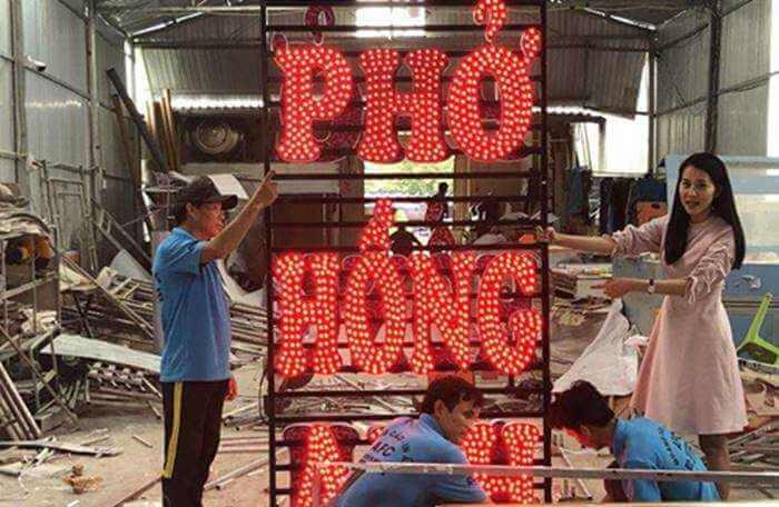 Làm Bảng Hiệu chữ nổi Mica đèn Led đẹp Phở Hồng Anh Phú Quốc