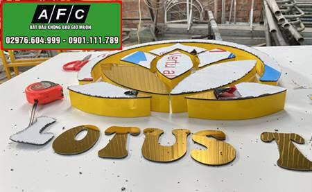 Thiết kế thi công bảng hiệu Alu chữ Mica nổi Lotus Gruop